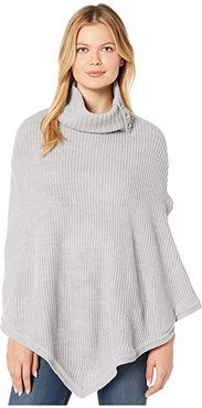 Shaker Poncho with MK Dome Buttons (Pearl Heather) Women's Clothing