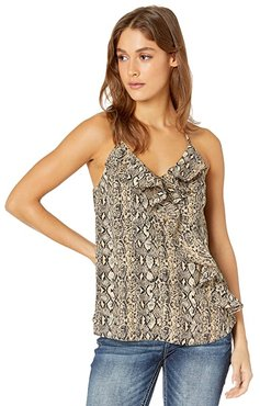 Animal Print Ruffle Cami (Multi Beige) Women's Clothing