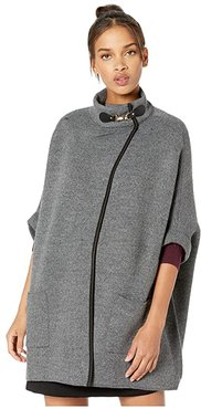 Solid Riding Cape with Welt Pocket (Gray) Women's Clothing