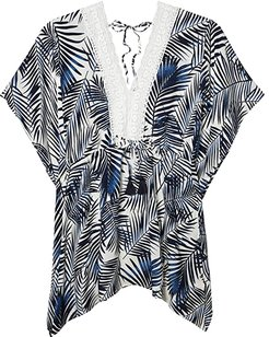 Evie Tropical Romper with Crochet Detail (Navy/White) Women's Jumpsuit & Rompers One Piece