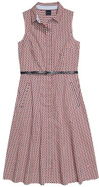 Cleveland Belted Sleeveless Shirtdress with Hidden Magnetic Closure (Core Navy/Multi) Women's Dress