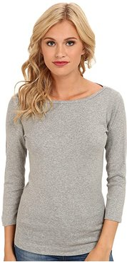 100% Cotton Heritage Knit 3/4 Sleeve British Tee (Granite) Women's Long Sleeve Pullover