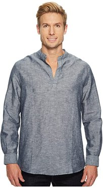 Long-Sleeve Solid Linen Cotton Popover Shirt (Ink) Men's Clothing