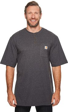 Big Tall Workwear Pocket S/S Henley (Carbon Heather) Men's Short Sleeve Pullover