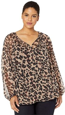 Plus Size Peasant Blouse (Wildcat) Women's Blouse
