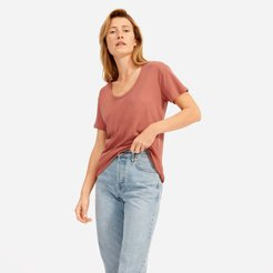 Air Scoop-Neck T-Shirt by Everlane in Burnt Sienna, Size XXS
