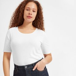 Pima Stretch Mid-Sleeve T-Shirt by Everlane in White, Size XS