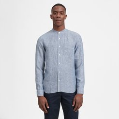 Linen Band Collar Shirt by Everlane in Blue / White Pinstripe, Size L