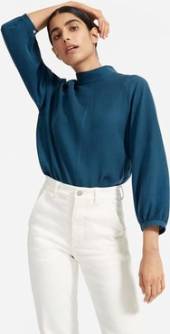 Cupro Mockneck Blouse Sweater by Everlane in Dark Teal, Size 16