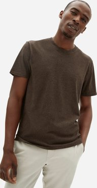 Organic Cotton Crew | Uniform T-Shirt by Everlane in Heathered Brown, Size XL
