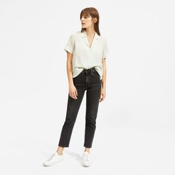 Clean Silk Short-Sleeve Notch Shirt by Everlane in Mint, Size 10