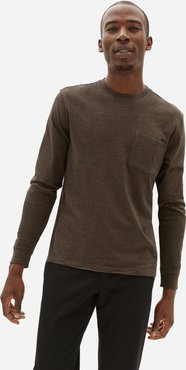 Organic Cotton Long-Sleeve Pocket T-Shirt | Uniform by Everlane in Heathered Brown, Size XXL