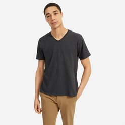 Organic Cotton V-Neck T-Shirt   Uniform by Everlane in Heather Charcoal, Size XXL