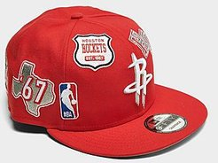Houston Rockets NBA Patch 9FIFTY Snapback Hat in Red/Red Polyester