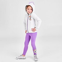 Girls' Little Kids' Unicorn Full-Zip Hoodie and Leggings Set in Purple/White Size 4 Cotton/Polyester/Knit