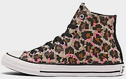 Girls' Big Kids' 8-Bit Leopard Print Chuck Taylor All Star Casual Shoes in Brown/Black Size 4.5 Canvas