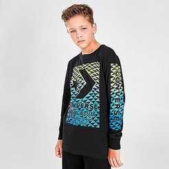 Boys' Gradient Long-Sleeve T-Shirt in Black Size Small 100% Cotton/Knit