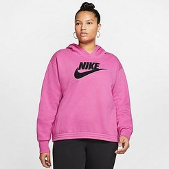 Sportswear Icon Clash Hoodie (Plus Size) in Pink/Cosmic Fuchsia Size Extra Large Cotton/Polyester/Fleece