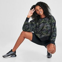 Dri-FIT Get Fit Camo Crop Training Crew Sweatshirt in Green/Grey/Thunder Grey Size X-Small Cotton/Polyester