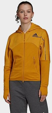 Athletics Z.N.E. COLD. RDY Full-Zip Hoodie in Yellow/Legacy Gold Size X-Small Polyester/Knit