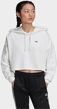 Originals 3-Stripes Cropped Hoodie in White Size X-Large Cotton