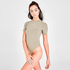 Originals Short-Sleeve Bodysuit in Green/Clay Size Small Cotton