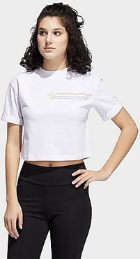 Originals Pride Linear Crop T-Shirt in White/White Size X-Large 100% Cotton/Jersey
