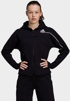 Athletics Z.N.E. Hoodie in Black/Black Size X-Small Cotton/Polyester