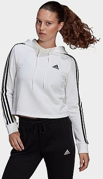 Essentials 3-Stripes Cropped Hoodie in White/White Size X-Large Cotton/Fleece