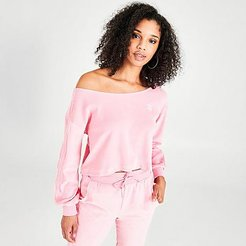 Originals Velour Off The Shoulder Sweatshirt in Pink/Light Pink Size X-Small Cotton/Polyester/Velour