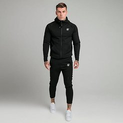 Motion Tape Full-Zip Hoodie and Jogger Pants Track Suit in Black/Black Size Small Fleece/Silk