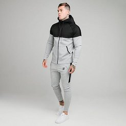 Motion Tape Full-Zip Hoodie and Jogger Pants Track Suit in Grey/ Size Medium Fleece/Silk