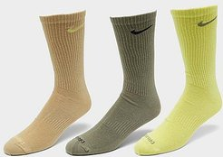 Everyday Plus Lightweight Training Crew Socks (3 Pack) in Green/Yellow/Brown/Multi-Color Size Large Cotton/Nylon/Polyester