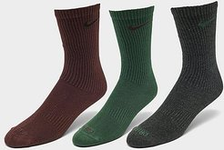 Everyday Plus Lightweight Training Crew Socks (3 Pack) in Green/Grey/Red/Multi-Color Size Medium Cotton/Nylon/Polyester