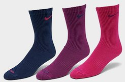 Everyday Plus Lightweight Training Crew Socks (3 Pack) in Pink/Blue/Purple/Multi-Color Size Large Cotton/Nylon/Polyester