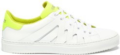 'Alpha Fluro' neon tongue cutout leather sneakers