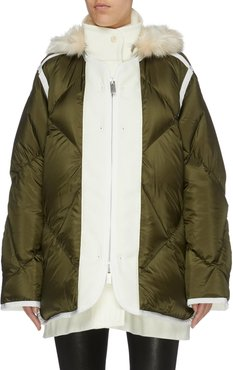 Faux fur trim hooded contrast placket down puffer jacket