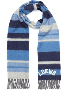 Logo embroidered colourblock rugby stripe wool scarf