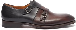 Leather dual-toned double monk strap shoes