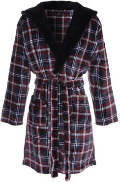 Mens Red Check Hooded Dressing Gown