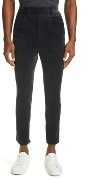 Pleated Slim Stretch Cotton Trousers
