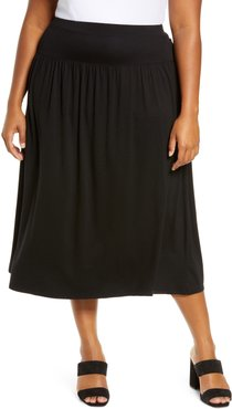 Plus Size Women's Eileen Fisher Fine Jersey Flare Midi Skirt