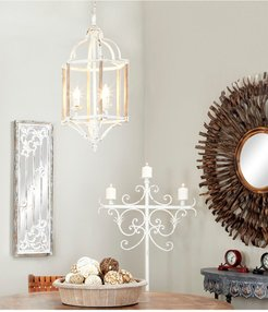 Willow Row Small Natural Wood and White Metal Lantern Chandelier at Nordstrom Rack