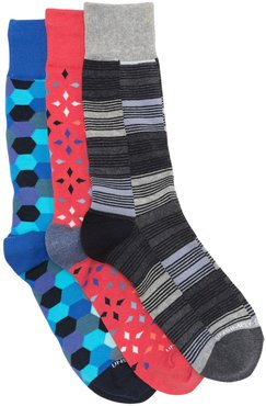 Unsimply Stitched Printed Crew Socks - Pack of 3 at Nordstrom Rack