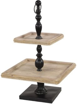 Willow Row Black Iron & Natural Wood 3-Tier Square Serving Tray Stand at Nordstrom Rack