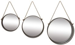 Willow Row Farmhouse Style Round Jute Rope Metal Wall Mirrors - Set of 3 at Nordstrom Rack