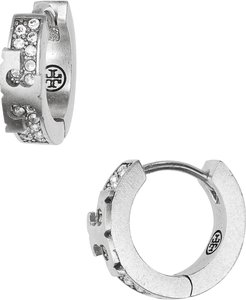 Serif-T Pave Huggie Hoop Earrings