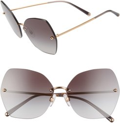 Lucia 64mm Mirrored Oversize Butterfly Sunglasses - Black/ Gold/ Gradient