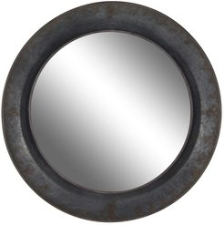 Willow Row Rustic Round Wood And Iron Wall Mirror at Nordstrom Rack