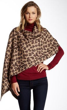 Portolano Animal Print Wool & Cashmere Blend Poncho at Nordstrom Rack